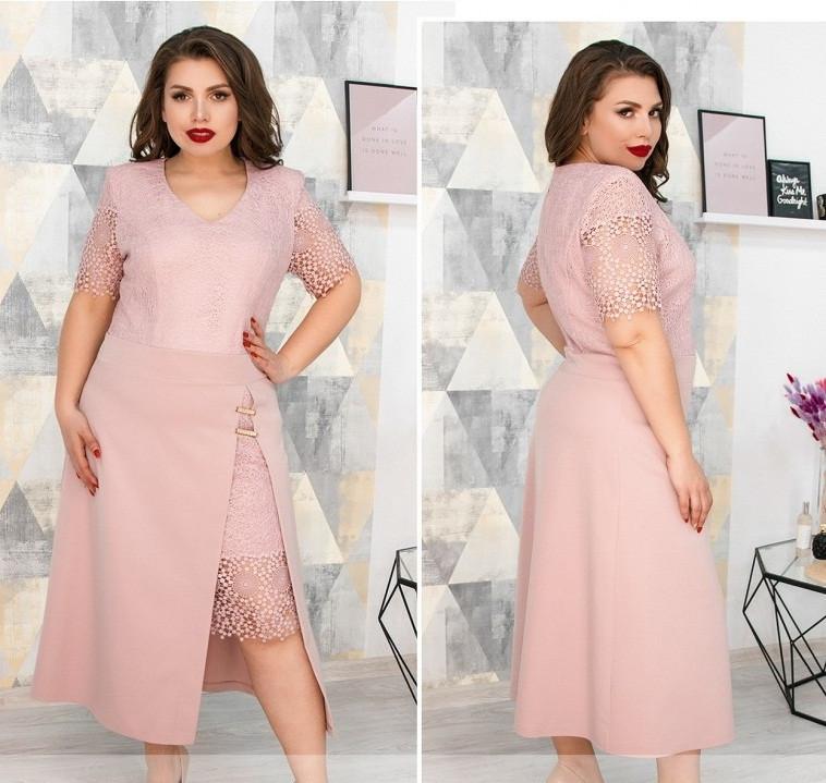 Красивое платье с кружевом,розовое 52,54,56,58