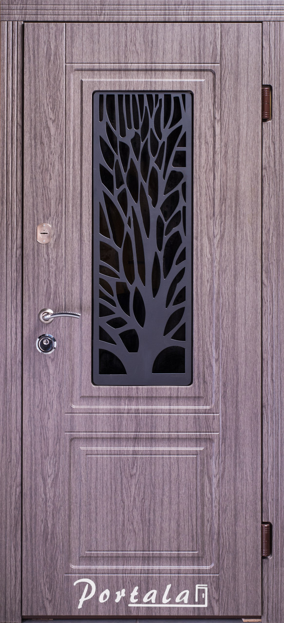 Двери уличные, серия Люкс, VINORIT, модель S-3, гнутый профиль, коробка 100 мм, полотно 76 мм, ковка
