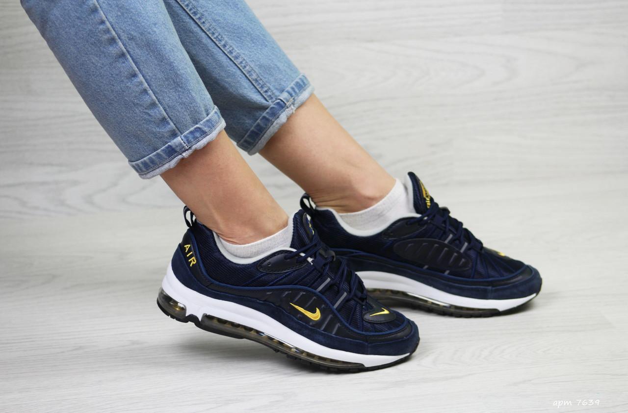 92b1a7afa996f0 Темно-синие. Кроссовки женские Nike Air Max 97 в стиле Найк Аир Макс,  натуральная кожа,текстиль