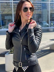 Куртка - Косуха Кожаная Женская Черная 0121КЖТ
