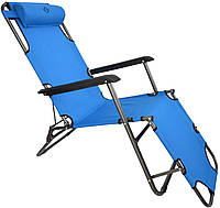 Шезлонг лежак Bonro 178 см голубой