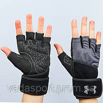 Перчатки атлетические с фиксатором запястья UNDER ARMOUR ВС-859-GR (PVC, PL, открытые пальцы, р-р S-XL, серый)