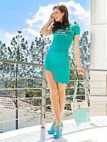 Мятная юбка с боковой выемкой