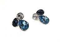 Серьги Swarovski женские серебро Ag 925-Rhodium/ Aquamarine(202)/ 20мм Blue colors