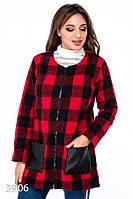 Красное клетчатое пальто без воротника с кожаными карманами