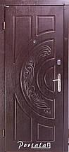 Двери квартирные, серия Элегантт, модель Рассвет, гнутом профиле, Темный орех, 2 замка