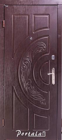 Двери квартирные, серия Комфорт, модель Рассвет, на трубе, темный орех, 2 замка, фото 2