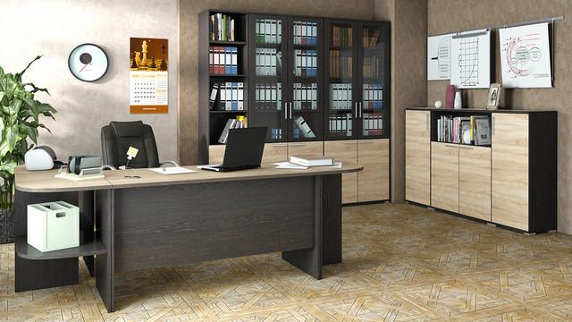 """На фото: кабинет для руководителя """"Деловой"""" (мебель в офис)"""
