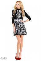 Черное платье в белые цветы с фальш-пиджаком до пояса