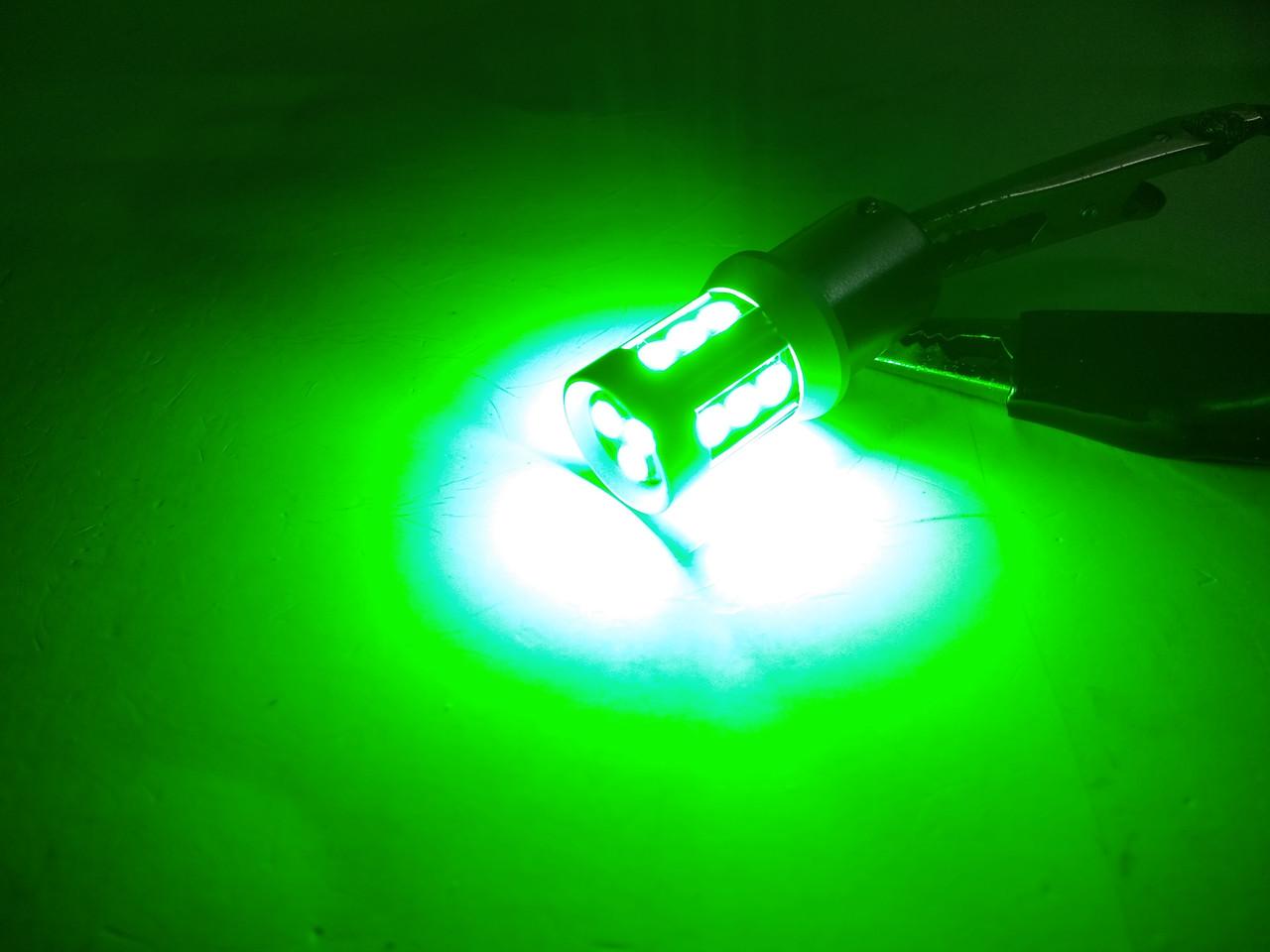 Автолампа светодиодная LED, P21W, 1156, BA15S, 15 EPISTAR 3020, 9-16В, Зелёная