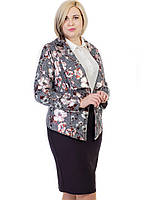 Пиджак  женский с геометрическим узором и фольгированными цветами (2674)