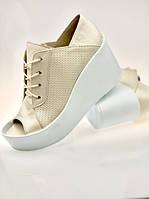 Туфли женские с открытым носком кожа на платформе код 1047Д