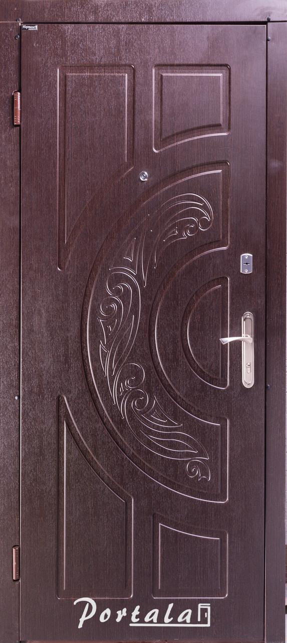 Двери уличные, серия Комфорт, модель Рассвет, тёмный орех, короб - профильная труба, 2 замка