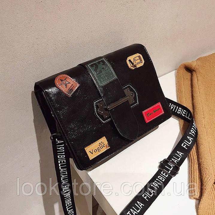 8a8c06063a2a Маленькая Женская Прямоугольная Сумка с Нашивками Vogue Черная — в ...