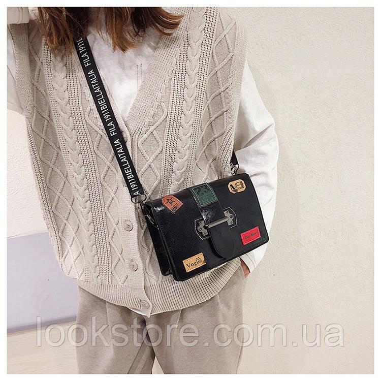 45d66dcf34d2 Маленькая женская прямоугольная сумка с нашивками Vogue черная, цена 370  грн., купить в Днепре — Prom.ua (ID#938569615)