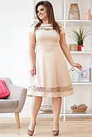 Женское приталенное платье со вставками из сетки с вышивкой 50,52,54