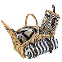 Плетеная корзина для пикника  (40*28*20 см) на 4 персоны + подстилка
