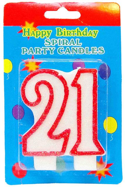 "Свеча в торт на день рождения цифра ""21"" юбилейная с блестками"