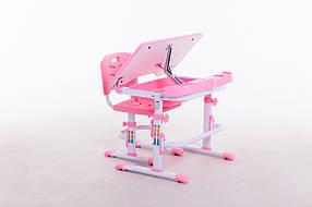 Комплект парта+стілець SportMax М 7038 + підставка для книжок в подарунок рожевого кольору