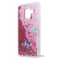 Чехол-накладка (Жидкий Блеск) Birds are Flying для Samsung Galaxy A8 (2018) SM-A530F Pink