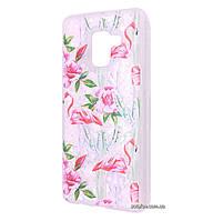 Чехол-накладка (Жидкий Блеск) Flamingo and Cactus для Samsung Galaxy A8 (2018) SM-A530F Pink
