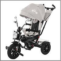 Детский трехколесный велосипед. С большой фарой и зеркалами. цвет Серый. TILLY TORNADO T-383