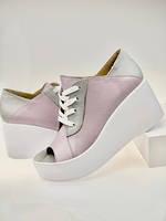 Туфли женские с открытым носком на платформе много цветов код 1049Д