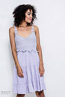 Летнее сиреневое коттоновое платье с воланами, завязкой на спине и лифом-мулине