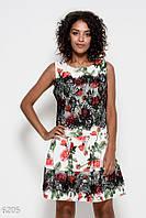 72041414dbb Белое платье с принтом из красных роз украшенное черным кружевом и сборками