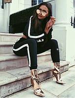Костюм спортивный женский с капюшоном и укороченной кофтой, двунить, штаны на манжете с карманами, фото 1