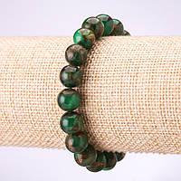 Браслет из зеленого мозаичного камня (синт) гладкий шарик d-10мм на резинке обхват 18см