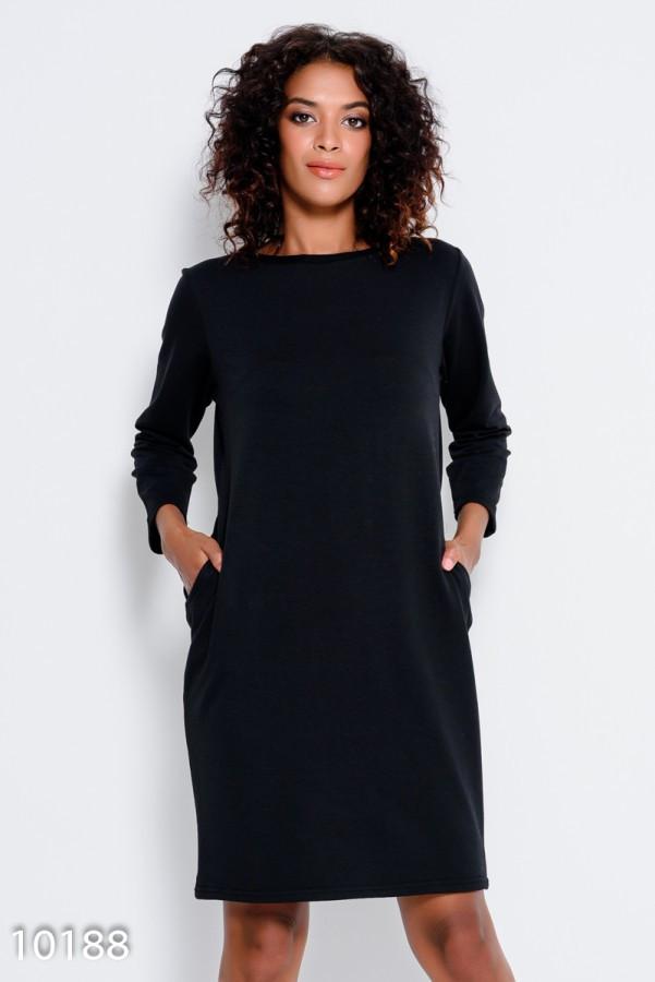 33f4528d528 Черное Трикотажное Платье с Длинными Рукавами и Карманами — в ...