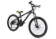 """Подростковый горный велосипед TopRider 611 24"""" с дисковыми тормозами, Черно-зеленый, фото 2"""