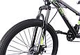 """Подростковый горный велосипед TopRider 611 24"""" с дисковыми тормозами, Черно-зеленый, фото 4"""