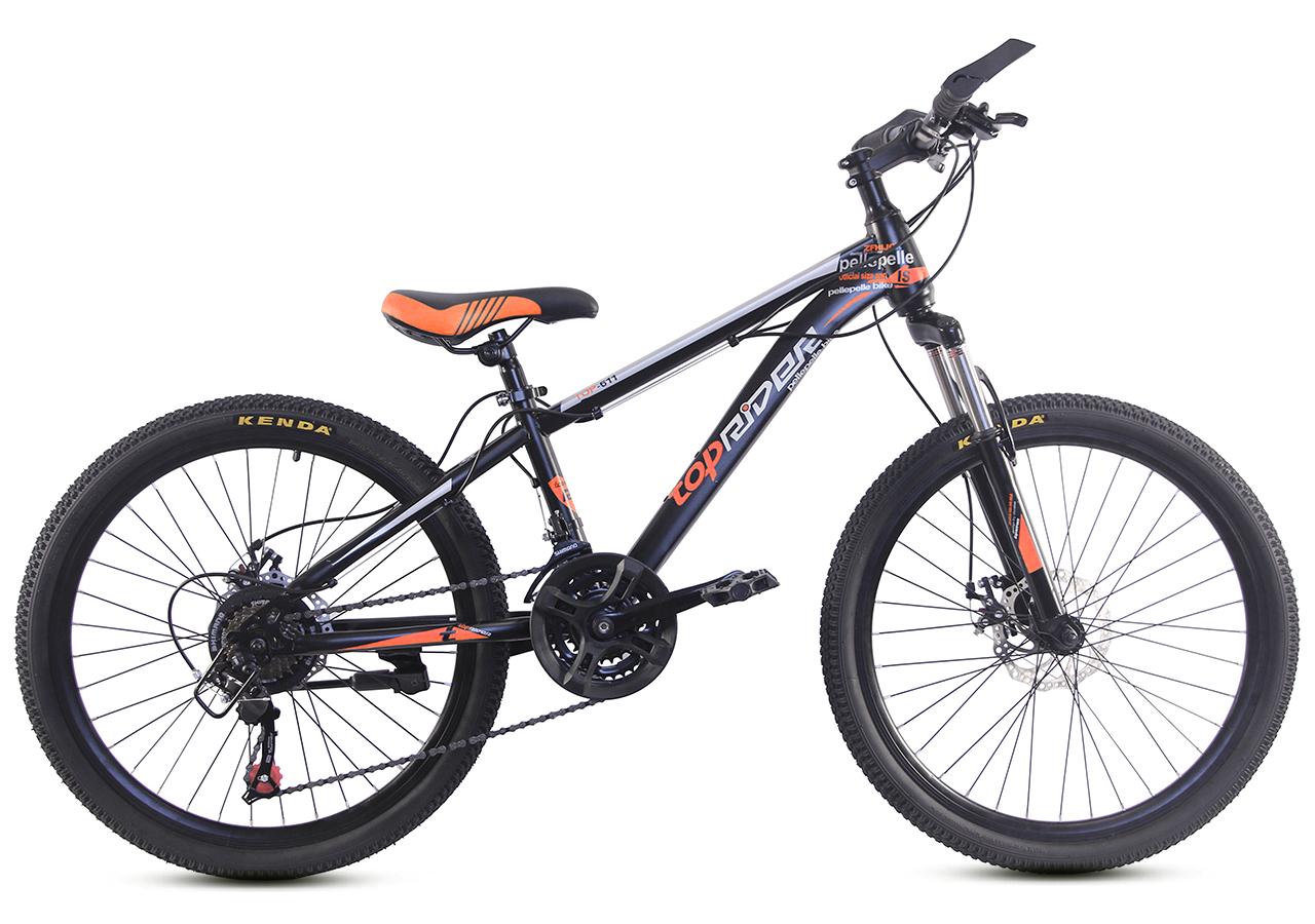 """Горный велосипед TopRider 611 24"""" Черный/Оранжевый"""