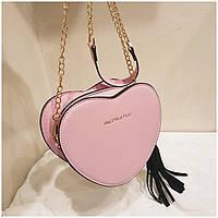 Женская маленькая сумка Сердце на цепочке розовая