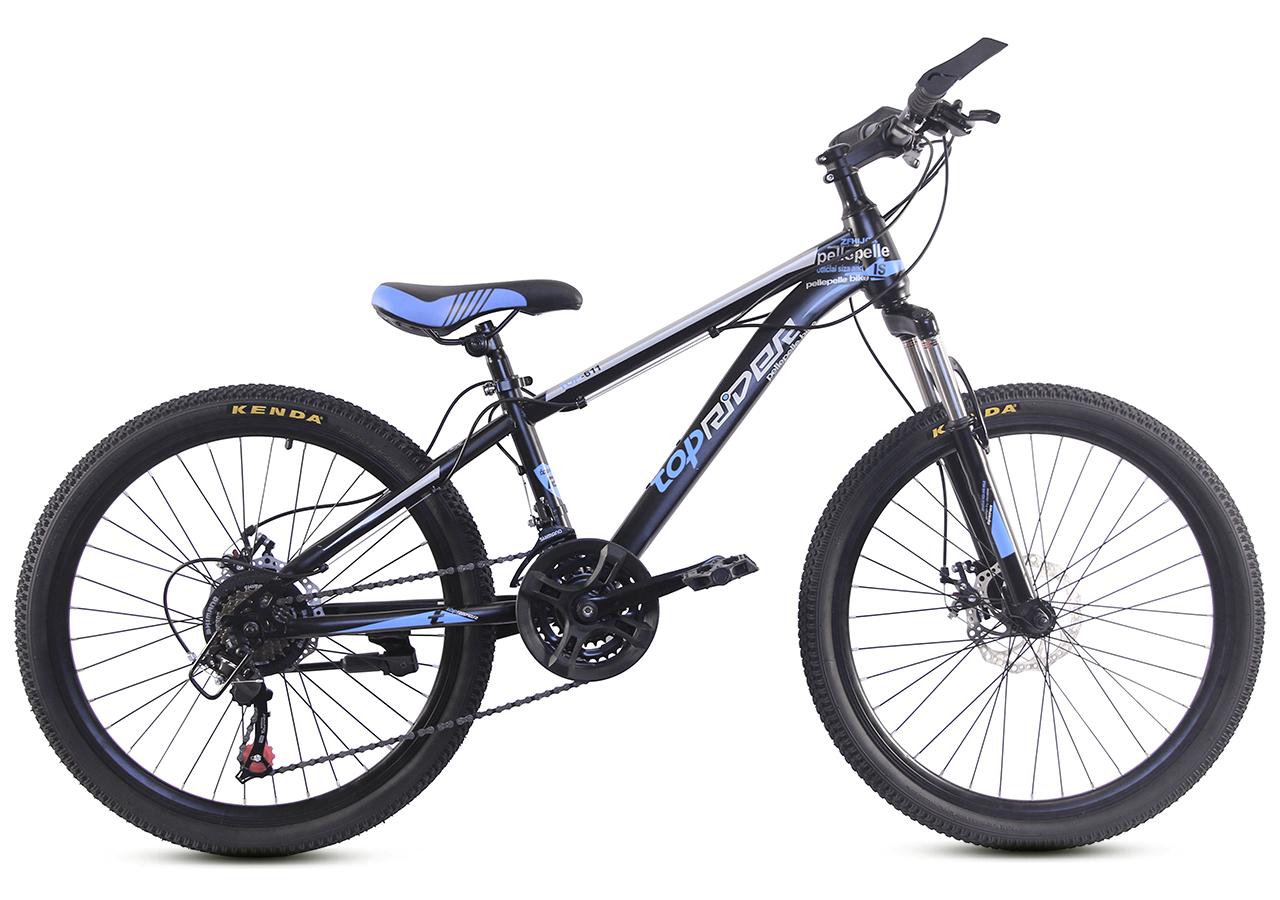 """Гірський велосипед TopRider 611 24"""" Чорний/Блакитний"""