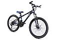 """Гірський велосипед TopRider 611 24"""" Чорний/Блакитний, фото 2"""