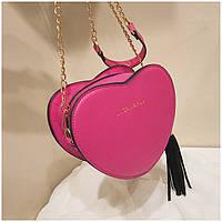 Женская маленькая сумка Сердце на цепочке малиновая, фото 1