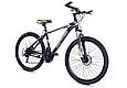 """Горный велосипед TopRider 611 26"""" с дисковыми тормозами, Черно-зеленый, фото 2"""