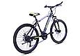 """Горный велосипед TopRider 611 26"""" с дисковыми тормозами, Черно-зеленый, фото 3"""