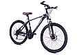 """Гірський велосипед TopRider 611 26"""" з дисковими гальмами, Чорно-фіолетовий, фото 2"""