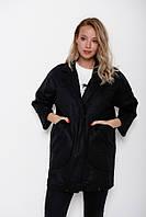Черное пальто-кокон из кашемира с вместительными карманами