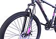 """Гірський велосипед TopRider 611 26"""" з дисковими гальмами, Чорно-фіолетовий, фото 4"""