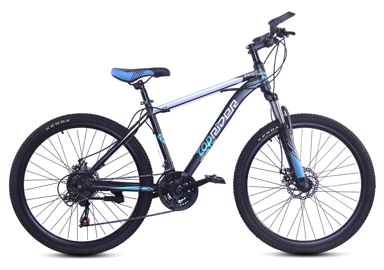 """Горный велосипед TopRider 611 26"""" Черный/Голубой"""