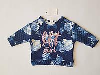 Свитшот для девочки детский IFT kids, в синий цветок, размер 98, возраст 2-3 года.