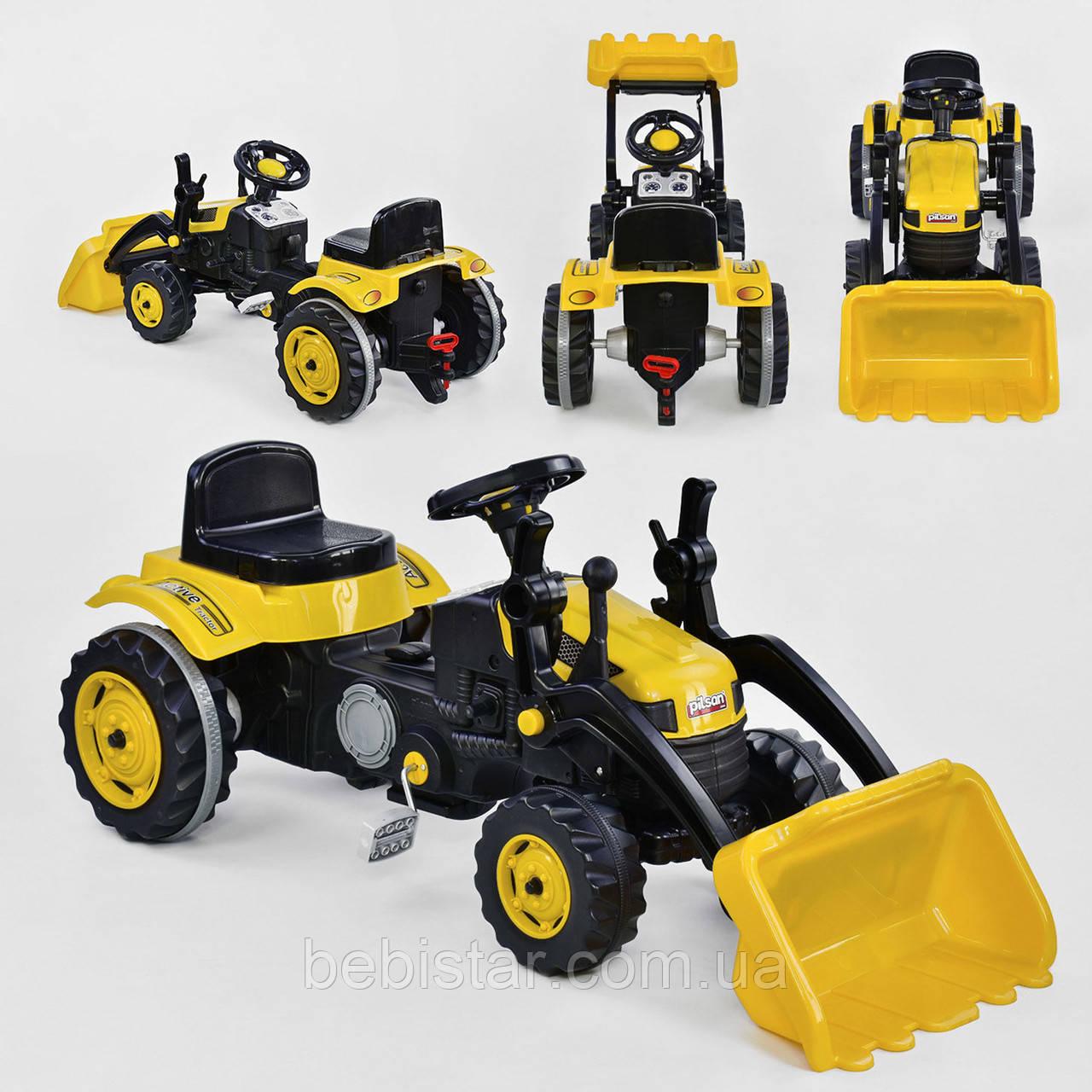Веломобиль трактор педальный желтый с ковшом пластиковые колеса цепной привод с звуковым сигналом от 3-х лет