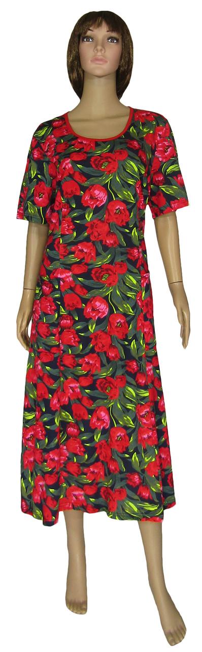 Платье женское летнее трикотажное больших размеров 19038 Sabina Красные Тюльпаны, р.р.56-66