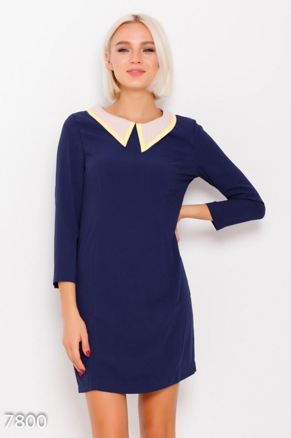3b4fe2f6d86 Синее офисное платье с классическим бежево-желтым воротником - Интернет- магазин