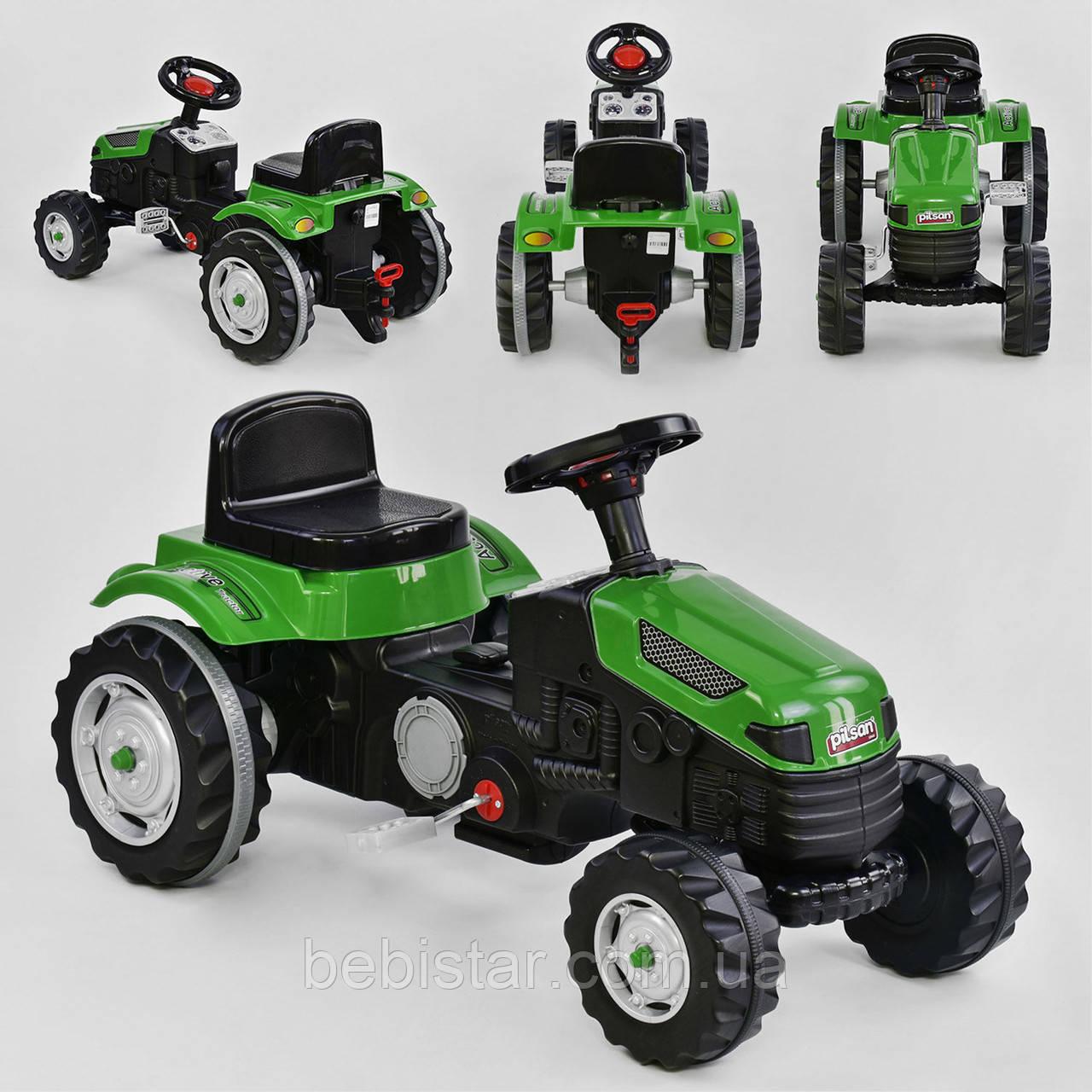 Веломобиль трактор педальный зеленый пластиковые колеса цепной привод с звуковым сигналом от 3-х лет